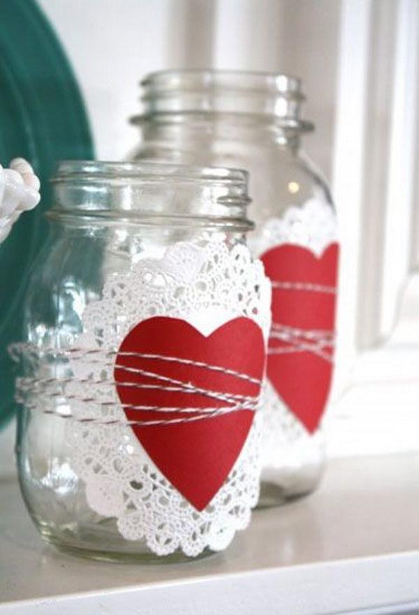 Paper Doily Valentine's Day Mason Jar