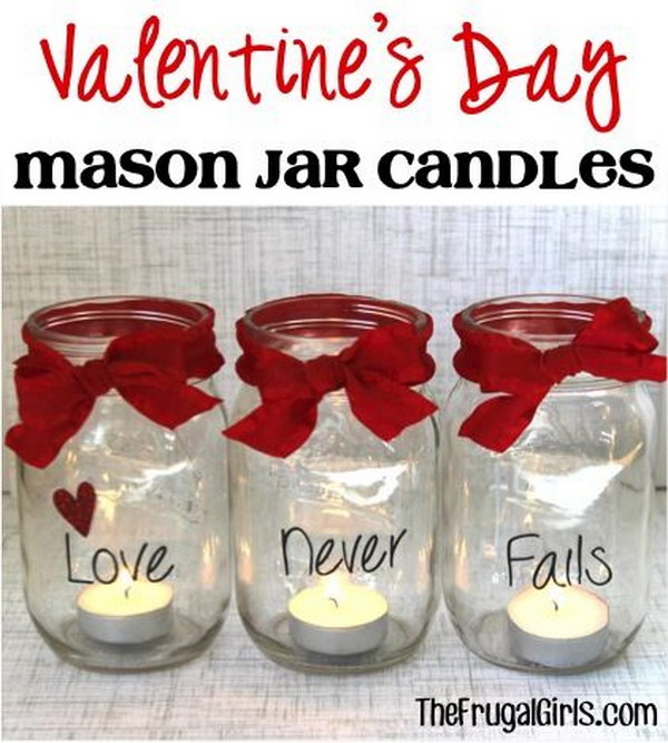 Valentine's Day Mason Jar Candles