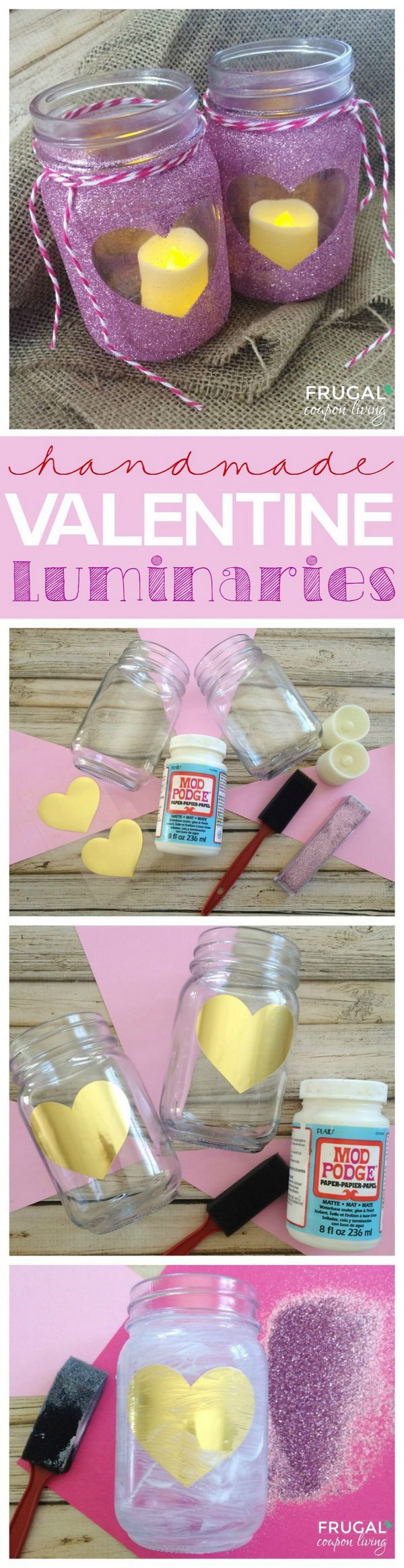 DIY Glitter Heart Mason Luminaries