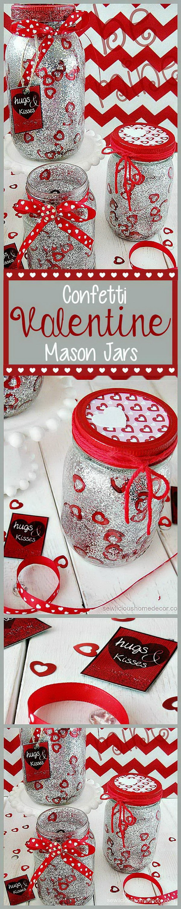 Silver Valentine Jars With Glitter and Confetti