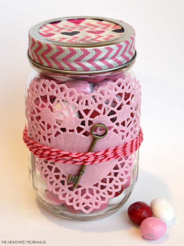 Washi Tape, Heart Shaped Doilies, and a Key Decorated Valentines Mason Jar