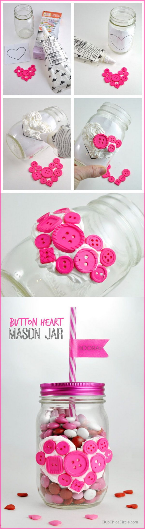 Button Heart Mason Jar with Collage Clay