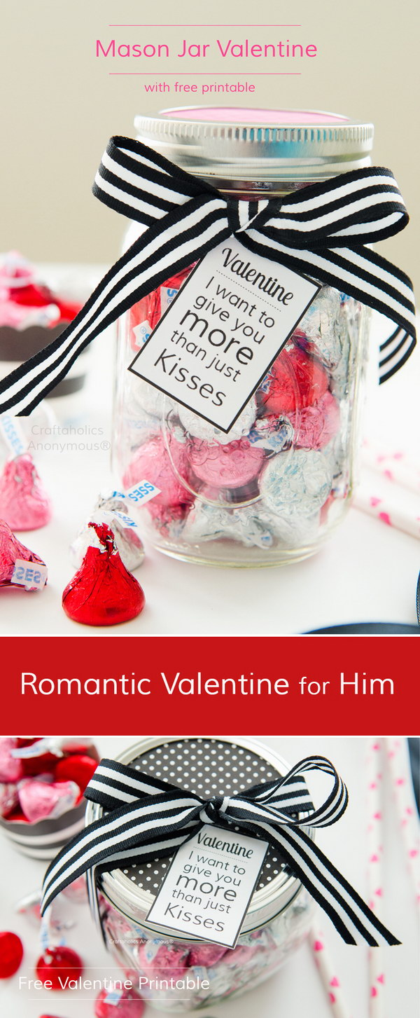 Romantic Kisses Mason Jar Gift for Him with Free Printable