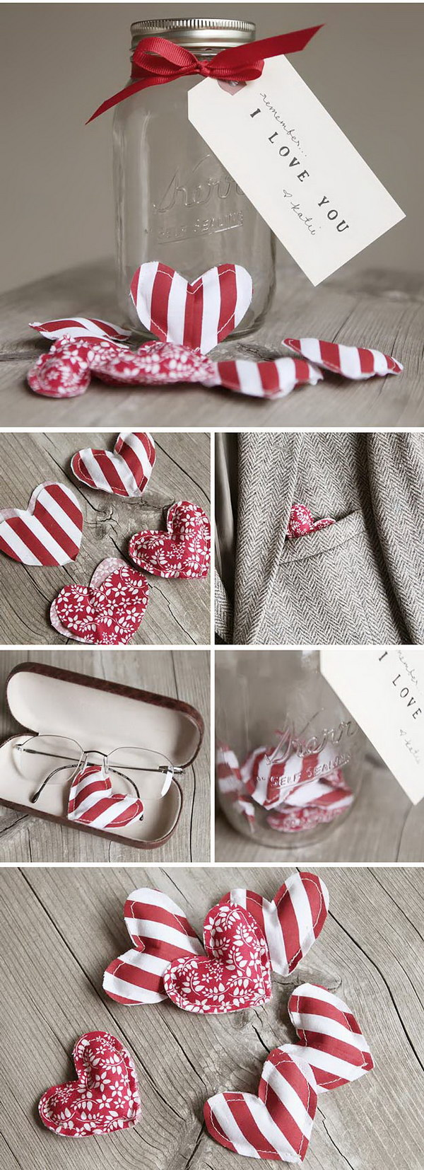 Fabric Hearts in Mason Jar