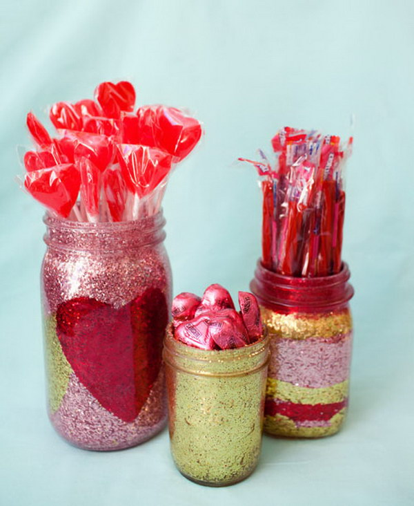 Glitter Heart and Stripes Mason Jar
