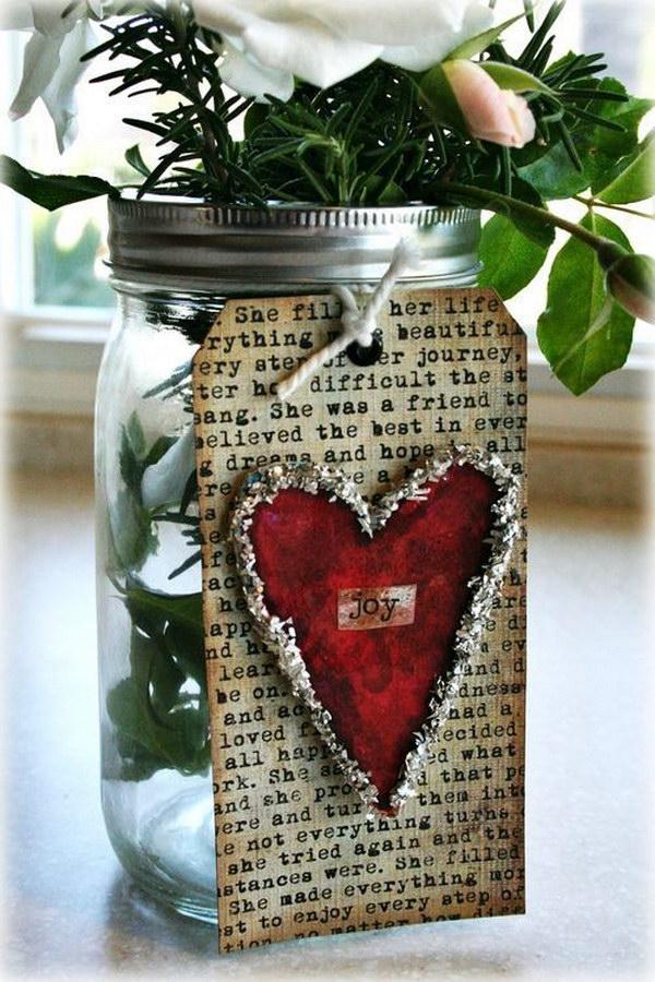 Shabby Chic Valentine Mason Jar