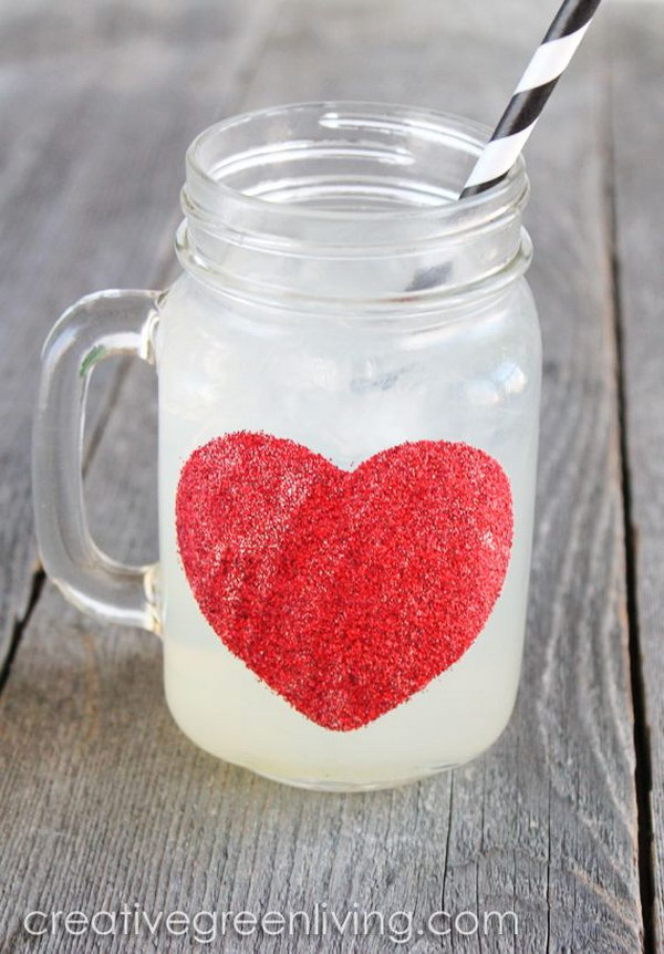 Dishwasher Safe Glitter Heart Mason Jar Mugs for Valentine's Day
