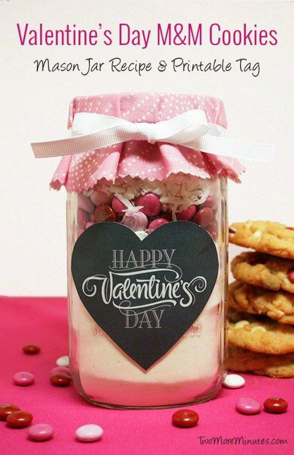 Valentine's Day M&M Cookies in a Mason Jar with Free Printables