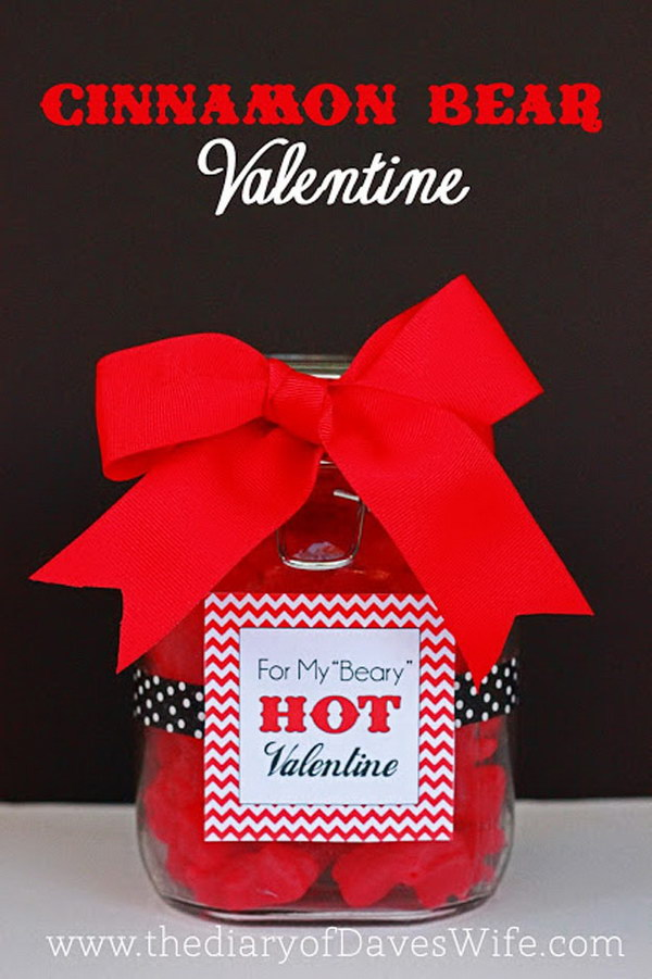 Cinnamon Bear Valentine Mason Jar Gift with Free Printable Tag