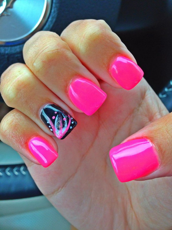 Pink and Black Acrylic Nails with Designs.