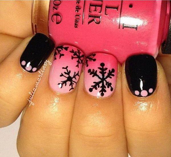 Ombre Pink & Black Snowflake Nail Art Design.