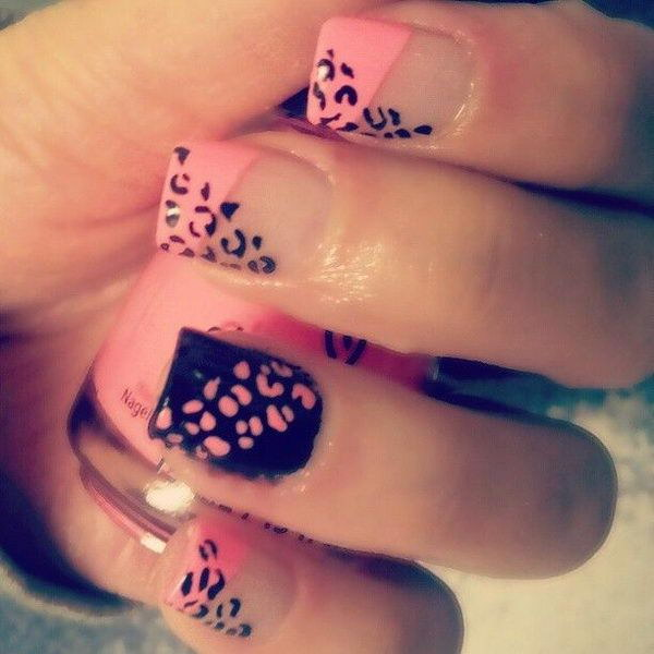 Pink & Balck Cheetah or Leopard Nail Design.