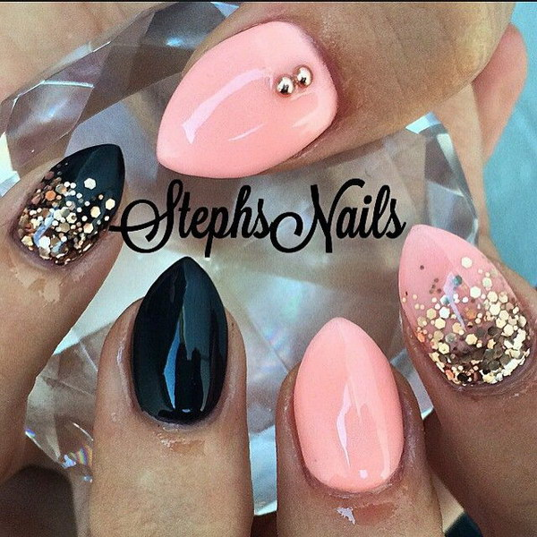 Baby Pink And Black Stiletton Nail With Glitter Accent