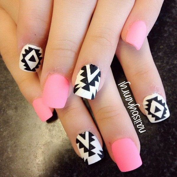 Pink White And Black Tribal Inspired Nail Design