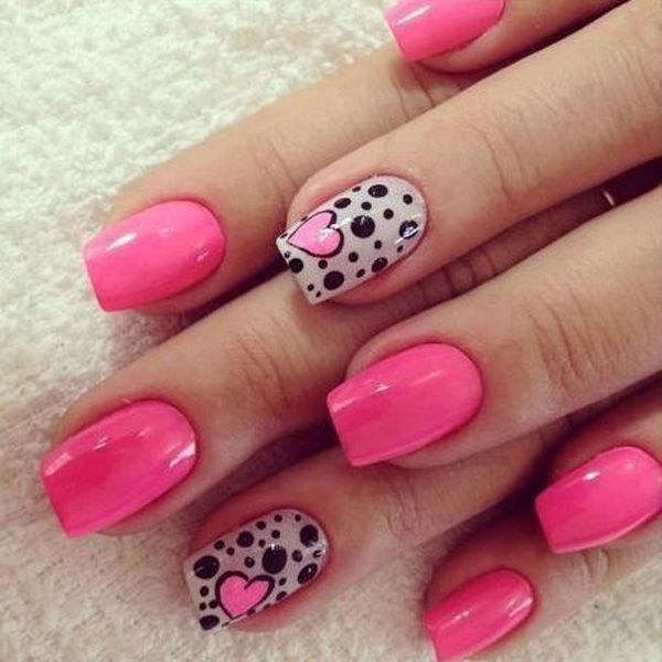 Polka Dot and Heart Themed Pink Nail Art Design.