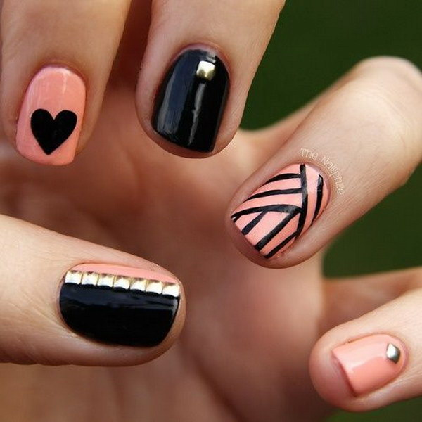 Pastel Pink and Black Nails.