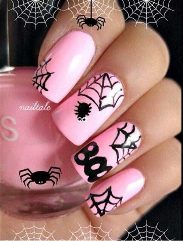 Spider and Web Halloween Manicure.