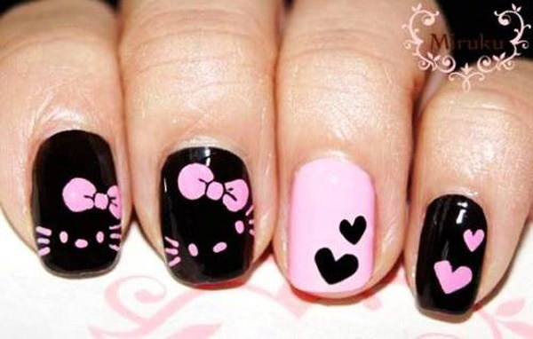 Black Pink Hello kitty Nail Design.