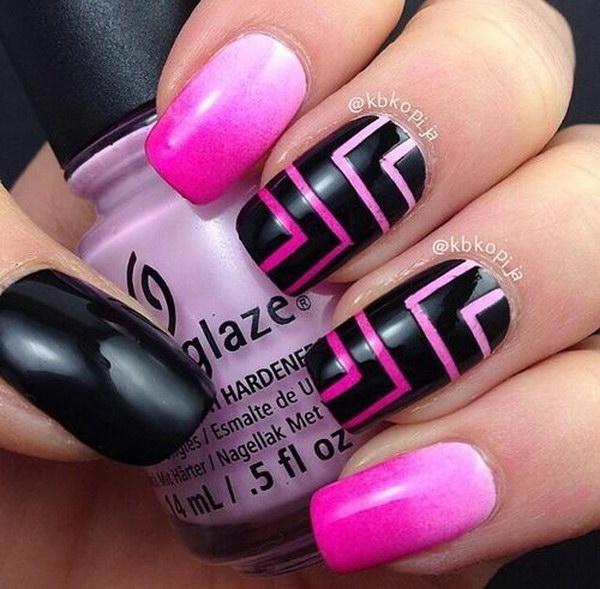 Pink And Balck Strips Nail.
