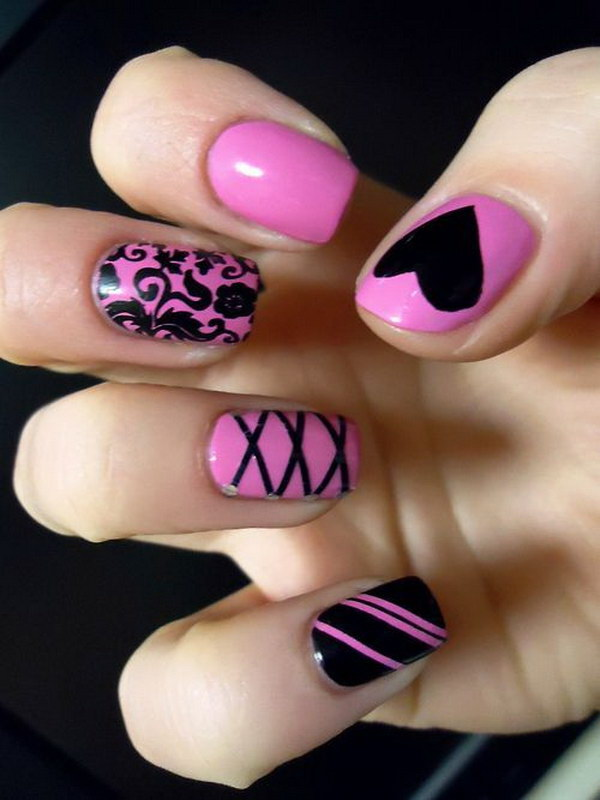 Pink and Black Valentine's Day Nail Art Design - 50+ Beautiful Pink And Black Nail Designs 2017