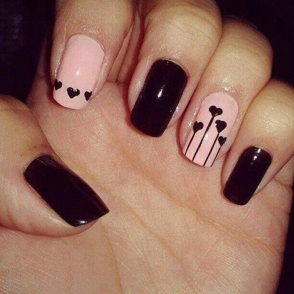 Heart Nail Design - 50+ Beautiful Pink And Black Nail Designs 2017