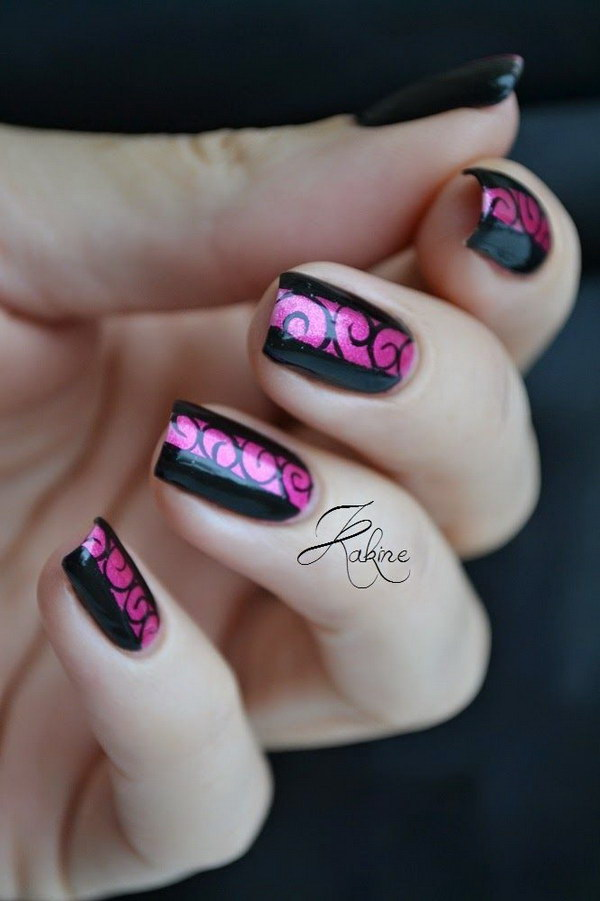 Spirales Black & Pink Nails - 50+ Beautiful Pink And Black Nail Designs 2017