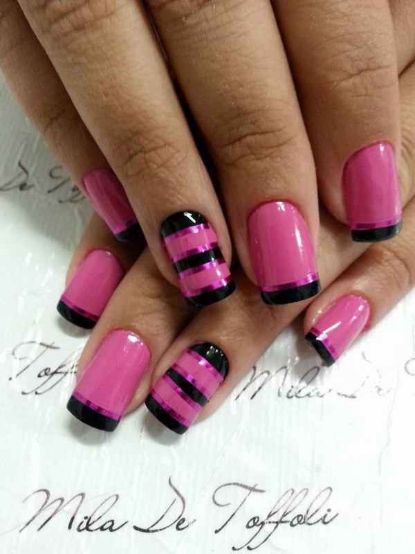 Pink and Black Strips Nail Design.