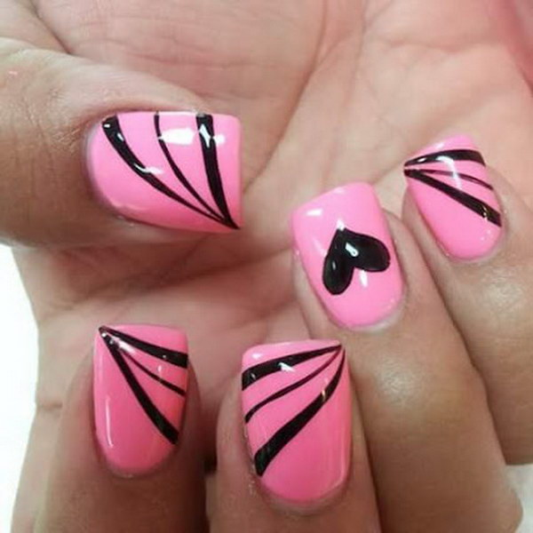 35 pink and black nail art designs
