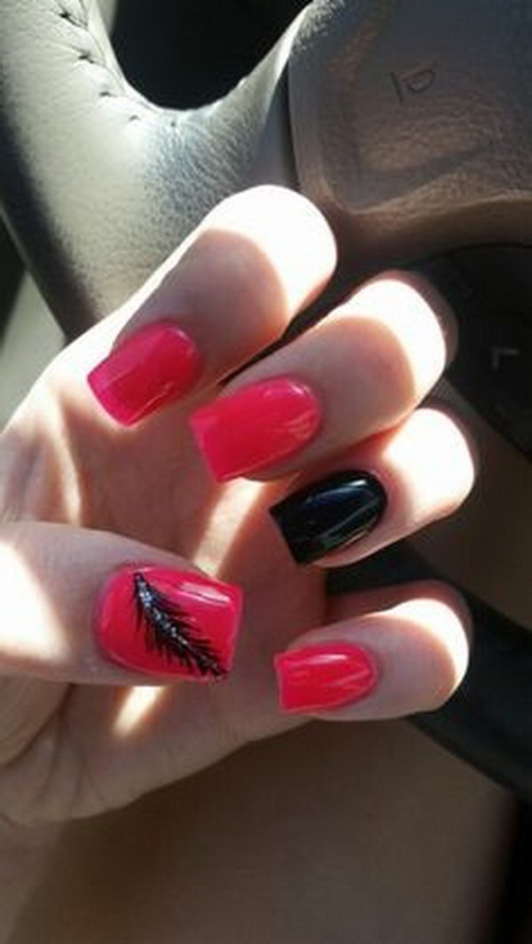 Hot Pink and Black Feather Nails.