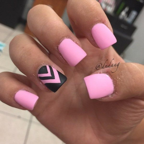 4 pink and black nail art designs - 50+ Beautiful Pink And Black Nail Designs 2017