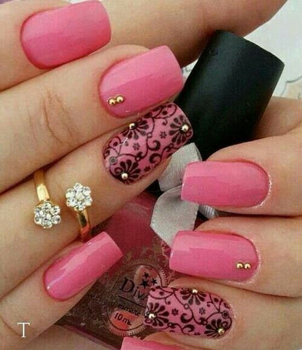 Pretty Pink Nails with Black Flowers Accent.
