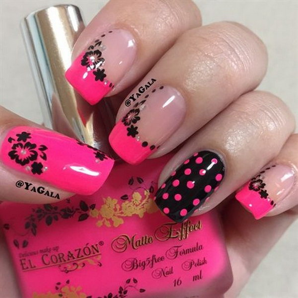 Hot Pink & Black Nails with Flowers and Dots Designs.