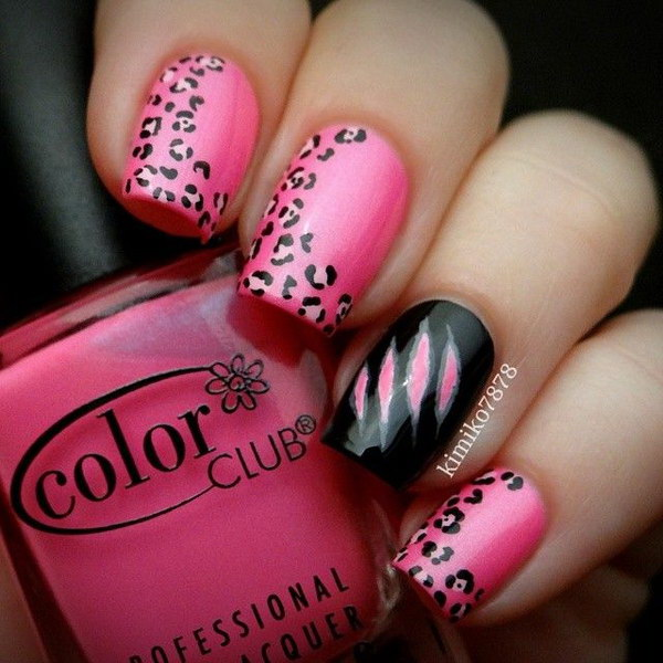Pink and Black Leopard Nail Design.