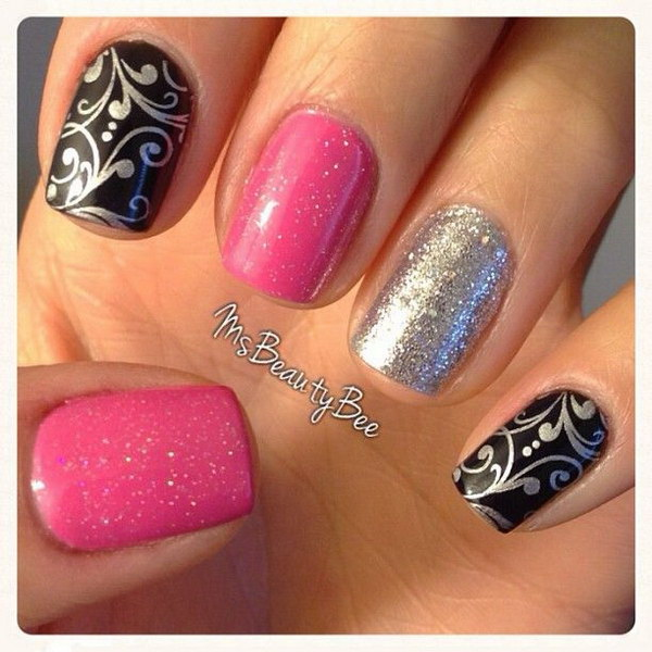 Pink and Black Nails Accented with Silver Glitters.