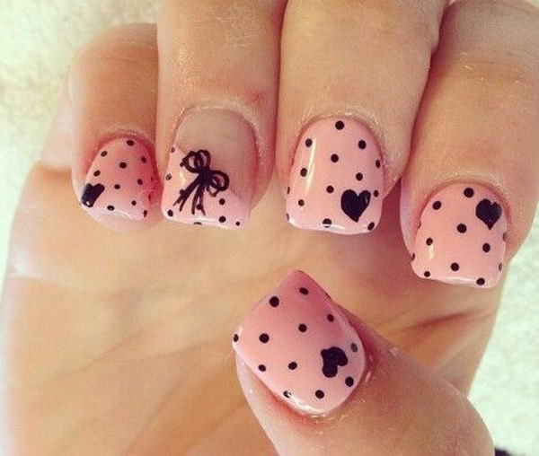 Pretty Pink Nails with Balck Polka dots, Bows and Hearts.