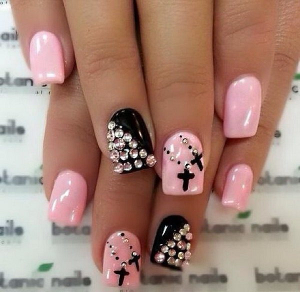 Pink and Black Studded Nail with Cross - 50+ Beautiful Pink And Black Nail Designs 2017