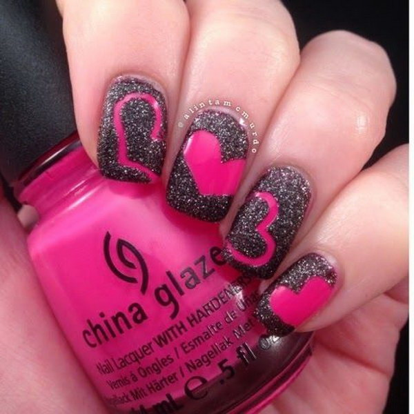 Hot Pink and Black Valentine Nail Art - 50+ Beautiful Pink And Black Nail Designs 2017
