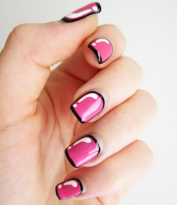 Hot Pink Nails with Black Outline.