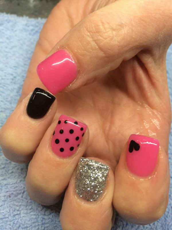 Pink & Balck Nail Design with Hearts, Polka Dots.