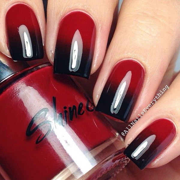 Black & Red Ombre Nail Design.