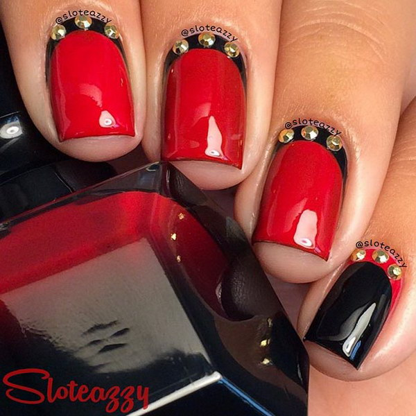 Black And Red Nail Design With Gold Details - 45+ Stylish Red And Black Nail Designs 2017