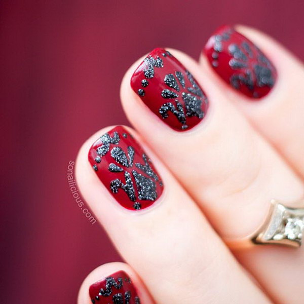 Red And Black Baroque Nail Design.