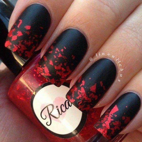 Black Nails with Red Glitter Flakes.