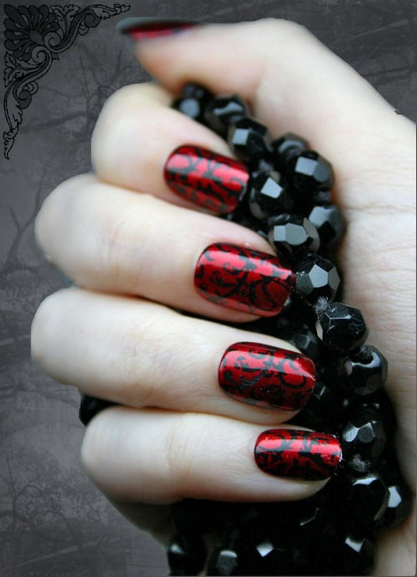 Swirl Red and Black Nail Design.