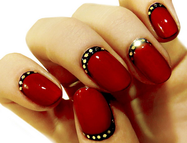 Red and Black Half Moon Nail Accented with Gold Details.