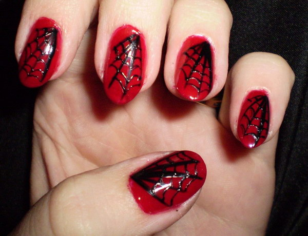Black Spiderweb on Red Nails.