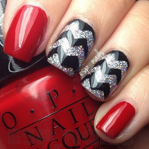 Red And Black Chevron Nail Design.
