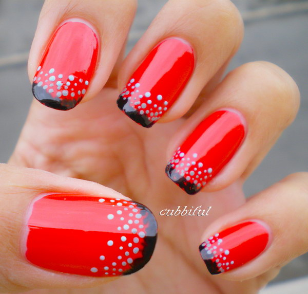 Red and Black Nails with Dots.