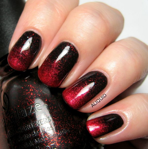 Red and Black Ombre Nail Art Design.
