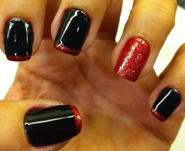 Red and Black French Nails with Glitter.